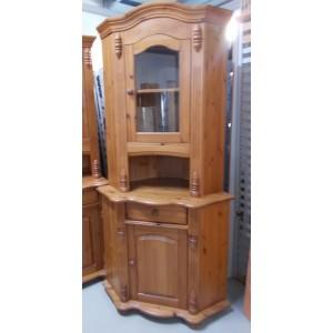Sarok fenyőfa vitrines tálalószekrény