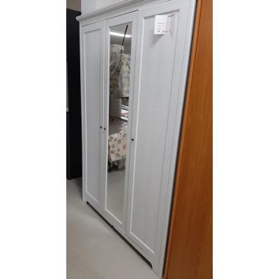 3 ajtós, tükrös gardróbszekrény - fehér