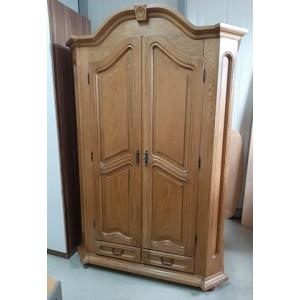2 ajtós 2 fiókos masszív szerkezetű tölgyfa ruhásszekrény