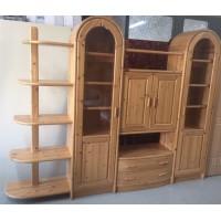 Fenyőfából készült  vitrines nappali szekrénysor