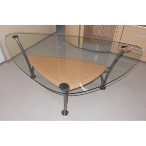 Fémszerkezetű üveglapos dohányzóasztal
