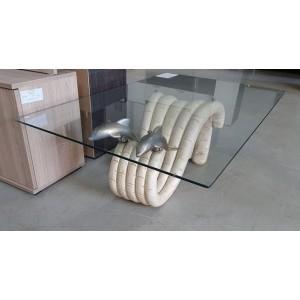Delfines üveg dohányzóasztal