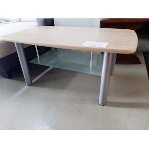 Króm lábas asztalka fa lappal és alsó üveg lappal