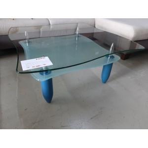 Üveg dohányzóasztal kék lábakkal