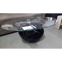 Ovális dohányzóasztal fekete talppal